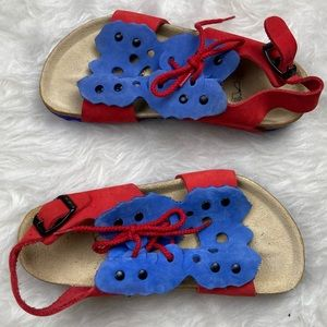 BIRKENSTOCKS Red Blue Butterfly Leather Sandals